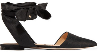 Sam Edelman - Brandie Slub Satin Point-toe Flats - Black $90 thestylecure.com