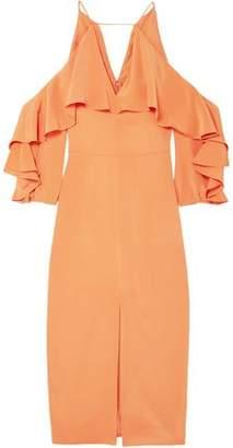 Cushnie Cold-shoulder Ruffled Silk Crepe De Chine Midi Dress
