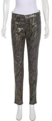 J Brand Print Mid-Rise Jeans
