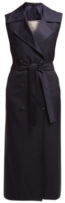 Giuliva Heritage Collection The Alex Double Breasted Wool Twill Midi Dress - Womens - Navy