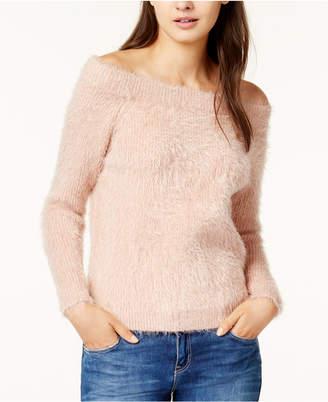 MinkPink Florentine Off-The-Shoulder Eyelash Sweater