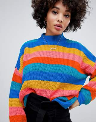 Missguided high neck sweater in rainbow stripe