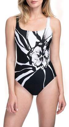 Gottex Midnight Rose Square-Neck One-Piece Swimsuit - Extra Coverage