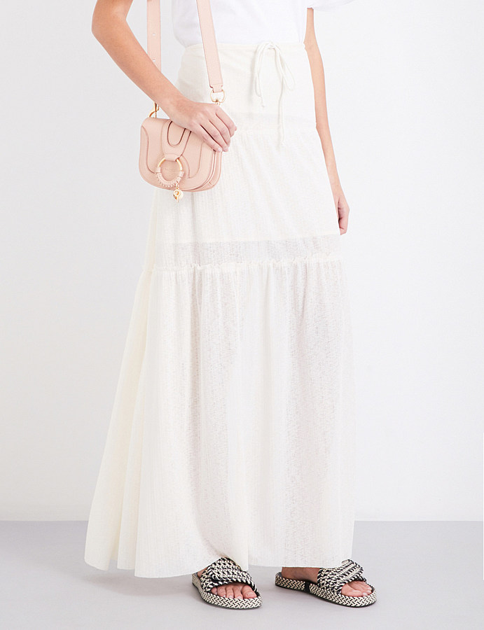 See By ChloeSee By Chloe Drawstring tiered gauze maxi skirt