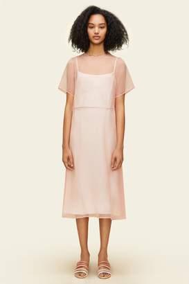 Mansur Gavriel Chiffon Short Sleeve Voluminous Dress