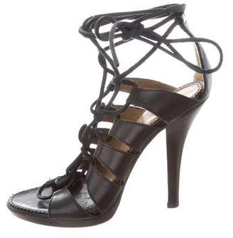 Saint Laurent Leather Cage Sandals