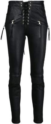 Unravel Project lace-up biker jeans