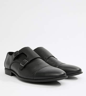 Asos Design DESIGN Wide Fit monk shoes in black faux leather with emboss panel