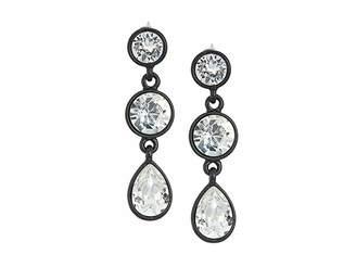 Kenneth Jay Lane Black/Crystal 3 Drop Pierced Earrings
