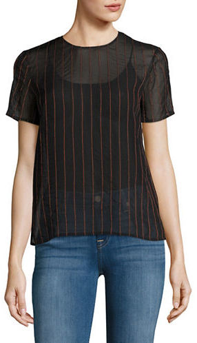 DKNY Dkny ?Sheer Pinstriped Short-Sleeve Top