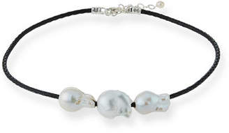 Margo Morrison Triple Pearl & Woven Leather Necklace