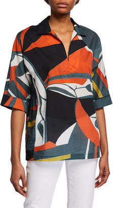 Lafayette 148 New York Plus Size Nicole Artisan Abstract Printed Short-Sleeve Blouse