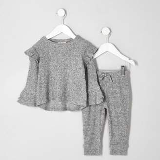 River Island Mini girls grey ribbed frill top outfit