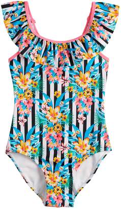 So Girls 7-16 SO Tropic Travels Ruffled One-Piece Swimsuit
