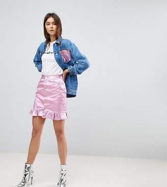 Chorus Tall Pink Foiled Denim Skirt with Frill Hem