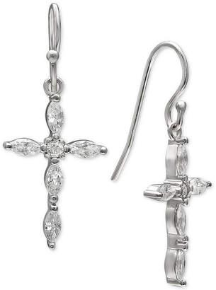 Giani Bernini Cubic Zirconia Marquise Cross Drop Earrings in Sterling Silver