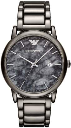 Emporio Armani Gunmetal Stainless Steel Dress Bracelet Mens Watch