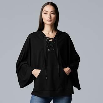 Vera Wang Women's Simply Vera Lace-Up Poncho Sweatshirt