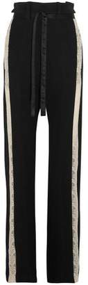 Ann Demeulemeester Lace-Trimmed Wool-Blend Wide-Leg Pants
