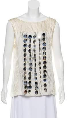 Philosophy di Alberta Ferretti Embellished Sleeveless Silk Top