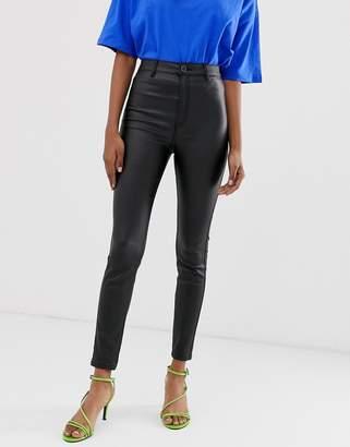 Stradivarius super high waist coated jeans in black