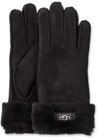 UGG Turn-Cuff Sheepskin-Trimmed Leather Gloves