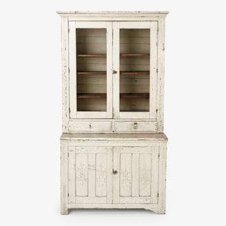 ABC Home Vintage Large Glass Door Cabinet White