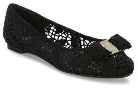 Salvatore Ferragamo Varina Laced Leather Ballet Flats $625 thestylecure.com
