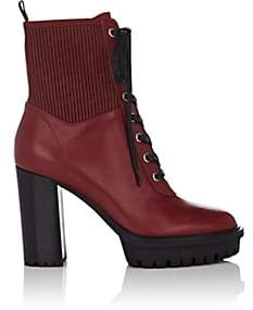 Gianvito Rossi Women's Martis Leather Lace-Up Boots-Red