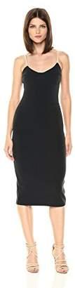 Velvet Rope Women's Detailed Bodice Spaghetti Strap Midi Sheath Dress Black