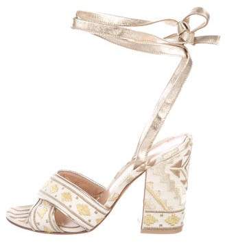 Gianvito Rossi Embroidered Wrap-Around Sandals