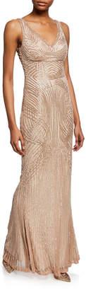 Rachel Gilbert Hand-Embellished V-Neck Gown