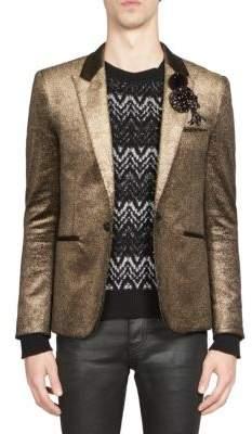 Saint Laurent Metallic Button-Front Jacket