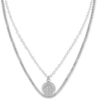 """Argentovivo Virgin Mary Layered 36"""" Pendant Necklace in Sterling Silver"""