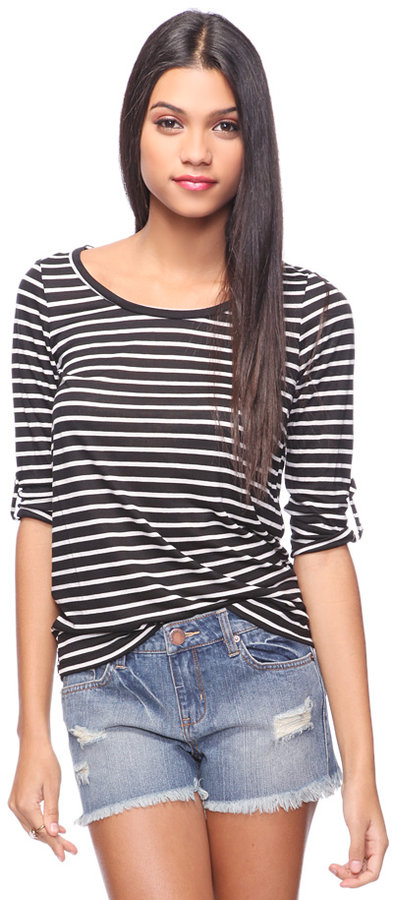 Style deals Striped Button Cuff Top
