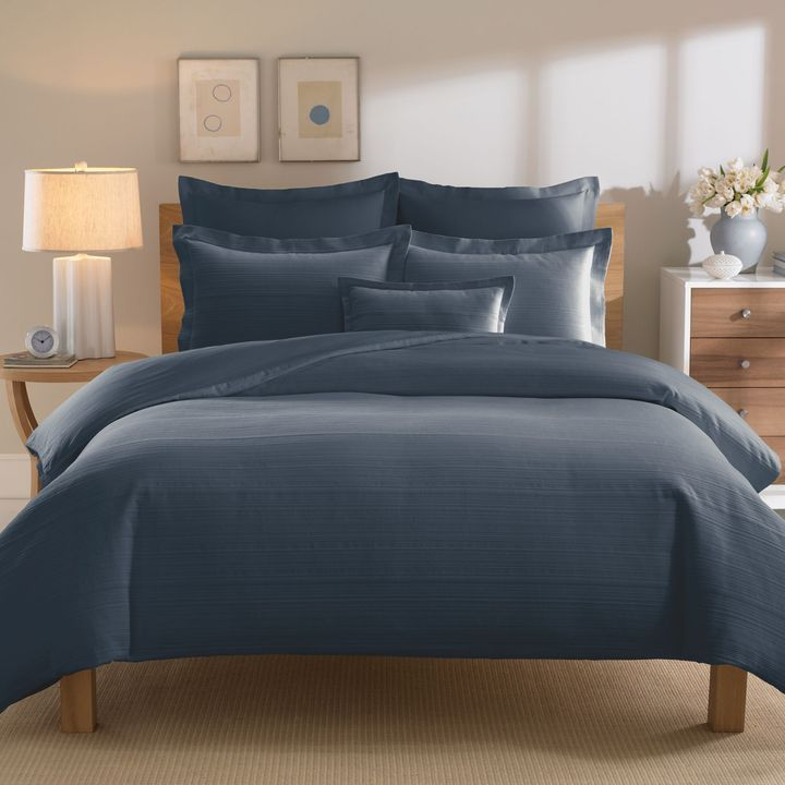 Bed Bath & Beyond Real Simple® Linear Duvet Cover in Ink