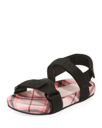 Burberry Redmire Check-Lined Sandal, Toddler/Kids