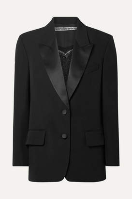 Alexander Wang Embellished Silk Satin-trimmed Wool Blazer - Black