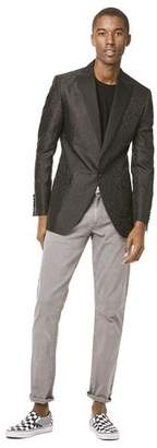 Todd Snyder Black Label Silk Tonal Jacquard Sutton Peak Lapel Dinner Jacket in Black
