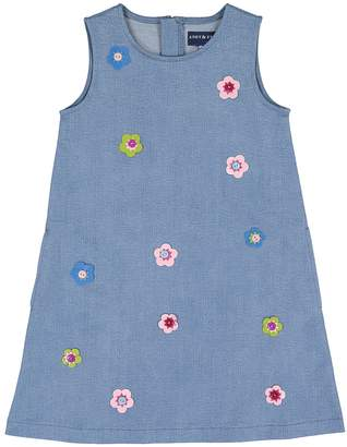 Andy & Evan for Little Gentlemen Denim Floral Applique Dress