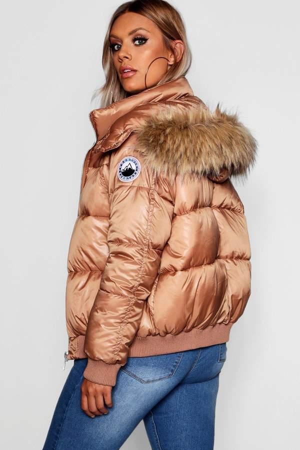 Plus Faux Fur Trim Line Puffer Jacket