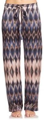 Diamond-Print Silk Pajama Pants