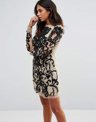 A Star Is Born Long Sleeve Embellished Bodycon Dress $118 thestylecure.com