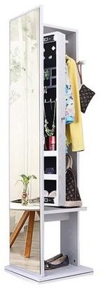 NEX 360 Degree Rotatable Standing Jewelry Cabinet- Full-Length Mirror, Lockable Safe, Armoire Organizer, Garment Rack, Hooks (NX-DA034)