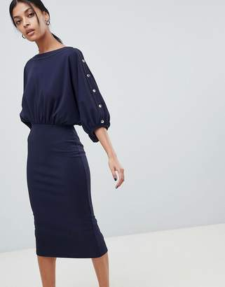 Asos Design Batwing Popper Sleeve Midi Dress