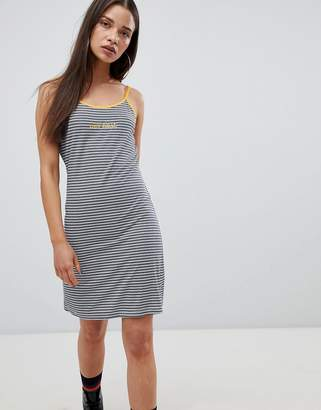 The Ragged Priest cami dress in stripe with slogan