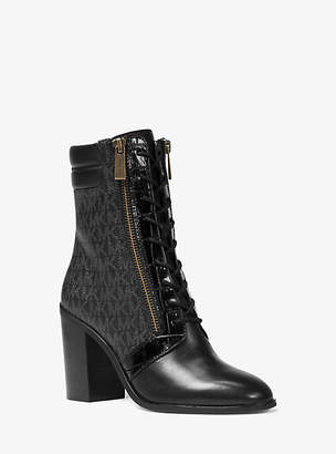 Michael Kors Rosario Logo And Leather Ankle Boot