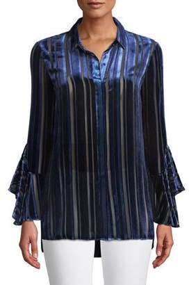 4159386f55b6 Elie Tahari Button-Front Draped-Sleeve Striped Velvet Burnout Blouse