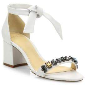 Alexandre Birman Clarita Jeweled Leather Block Heel Sandals