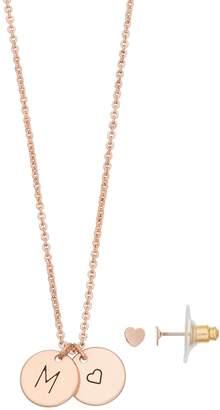 Lauren Conrad Initial Pendant Necklace & Heart Stud Earring Set